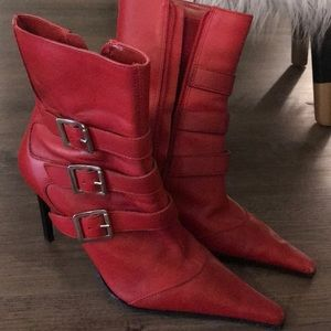 Red stiletto buckle boots 7